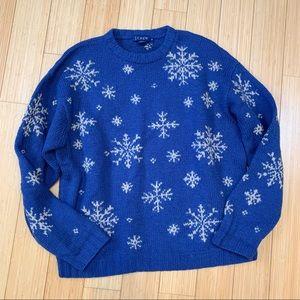 J. CREW blue wool snowflake sweater, men's M.